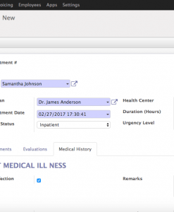 Patient Medical Histories (Odoo 10)