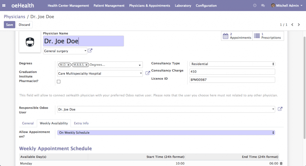 Physician Management (Odoo 12)