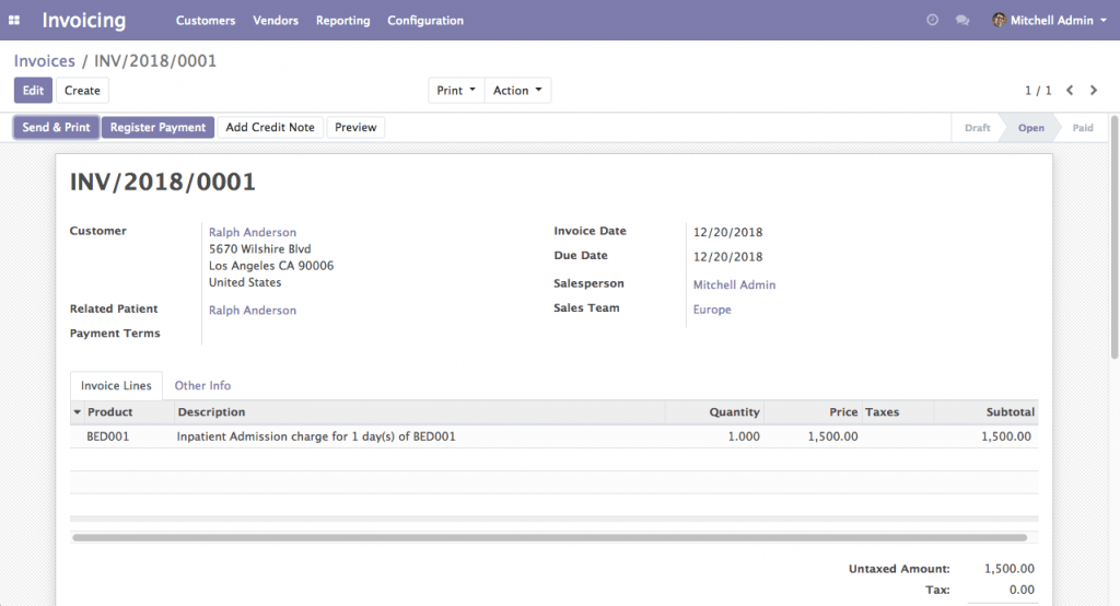 Invoice Management (Odoo 12)