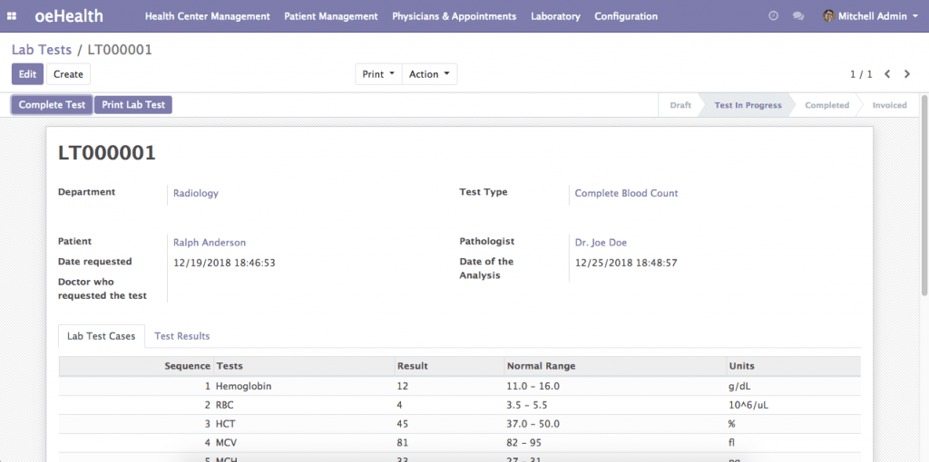 Lab Test Management (Odoo 12)