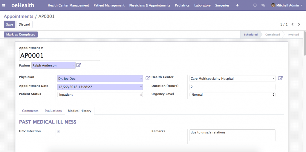 Patient Medical Histories (Odoo 12)