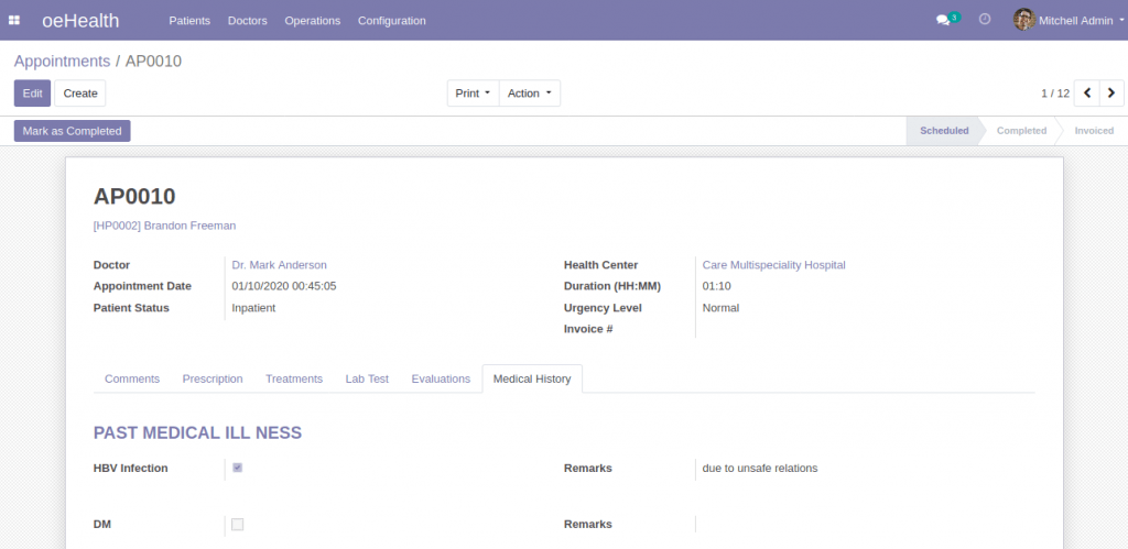 Patient Medical History (Odoo 13)