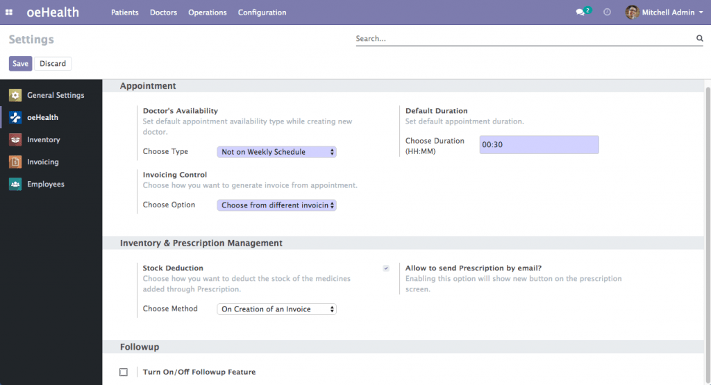 oeHealth Settings Management (Odoo 13)
