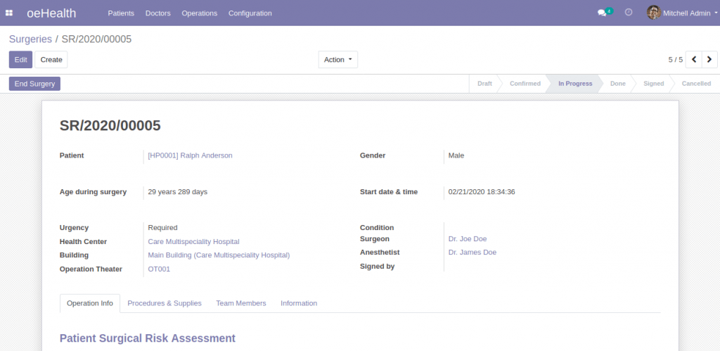 Surgical Management (Odoo 13)